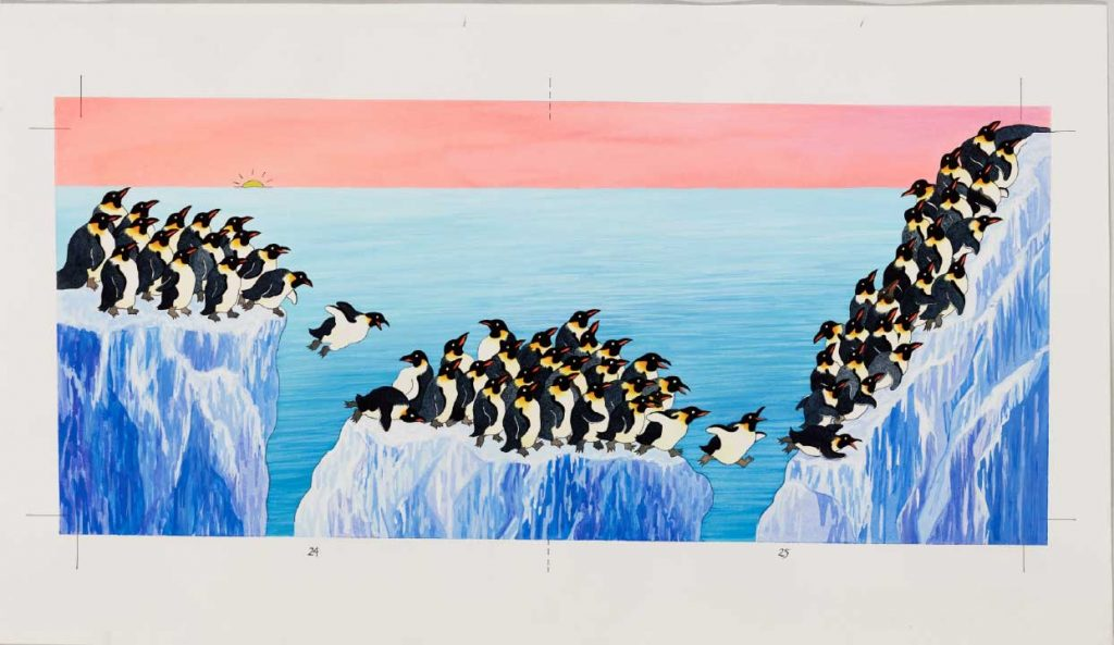 Illustration of bright and multicolored beaks of over 60 black and white penguin bodies as they jump from iceberg to iceberg.