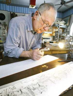 Arthur Geisert at work