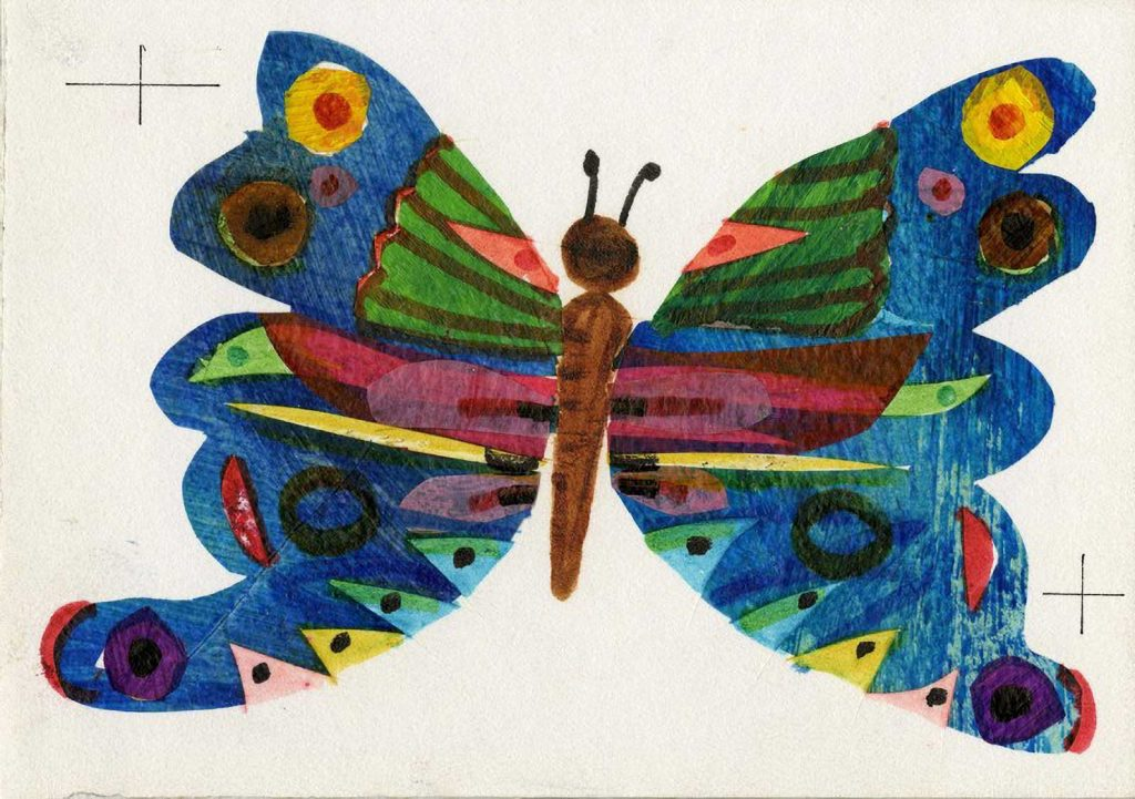 The Very Hungry Caterpillar by Eric Carle, process art, a large colorful butterfly.